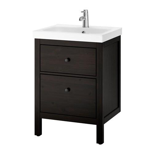 hemnes odensvik waschbeckenschrank 2 schubl schwarzbraun gebeizt ikea. Black Bedroom Furniture Sets. Home Design Ideas