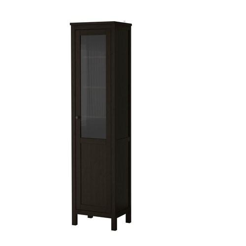 hemnes schrank mit paneel vitrinent r schwarzbraun ikea. Black Bedroom Furniture Sets. Home Design Ideas