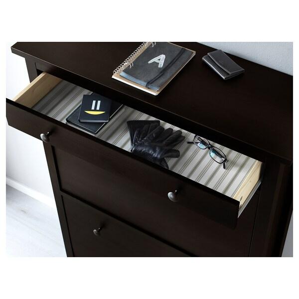 HEMNES Schuhschrank, 2fach, schwarzbraun, 89x127 cm