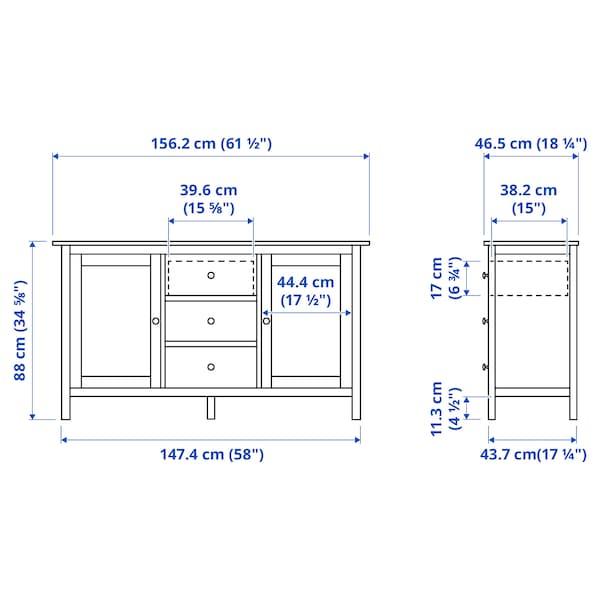 HEMNES Sideboard, weiß gebeizt, 157x88 cm