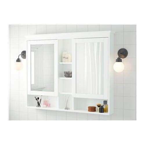 HEMNES Spiegelschrank 2 Türen - grau, 83x16x98 cm - IKEA