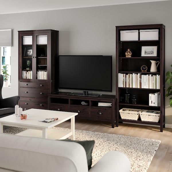 HEMNES TV-Möbel, Kombination, schwarzbraun/Klarglas, 326x197 cm