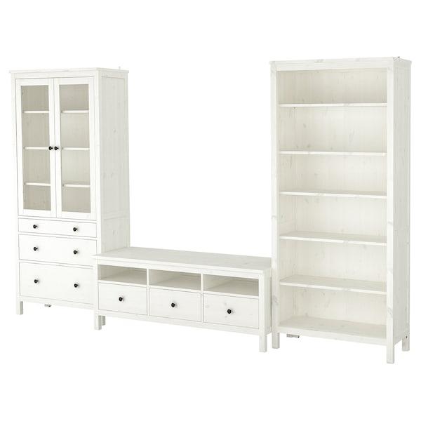 HEMNES TV-Möbel, Kombination, weiß gebeizt/Klarglas, 326x197 cm