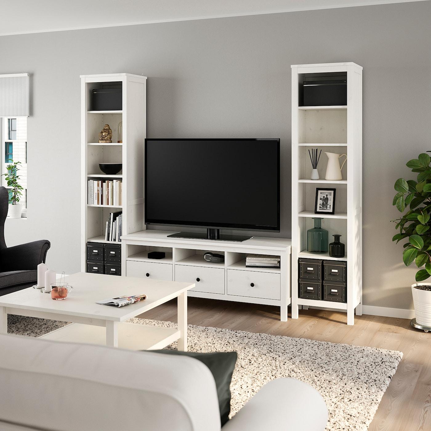HEMNES TV-Möbel, Kombination - weiß gebeizt 9x9 cm