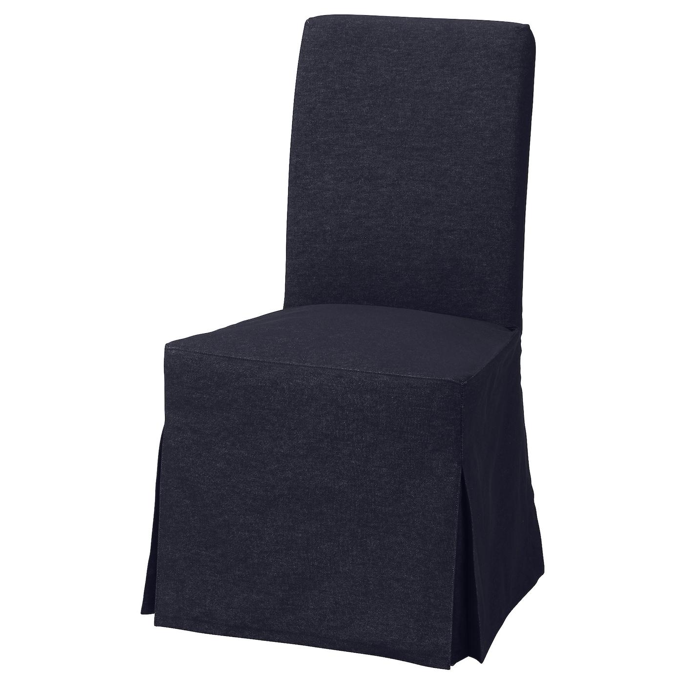 HENRIKSDAL, Stuhl mit langem Bezug, braunschwarz, dunkelblau 592.519.54