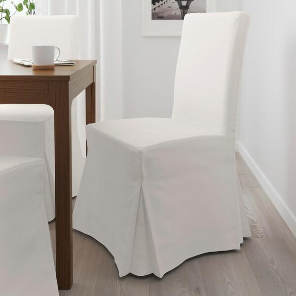 HENRIKSDAL Stuhl mit langem Bezug, braun/Blekinge weiß