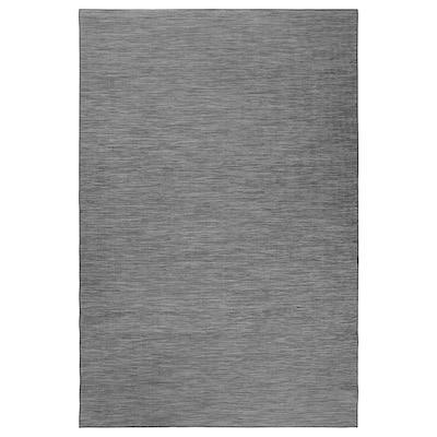HODDE Teppich flach gewebt, drinnen/drau, grau/schwarz, 200x300 cm