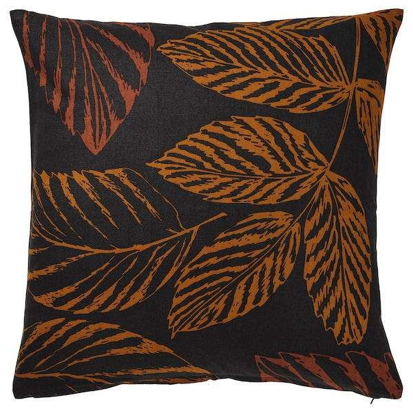 HÖSTKVÄLL Kissenbezug, Blattmuster schwarz/orange, 50x50 cm