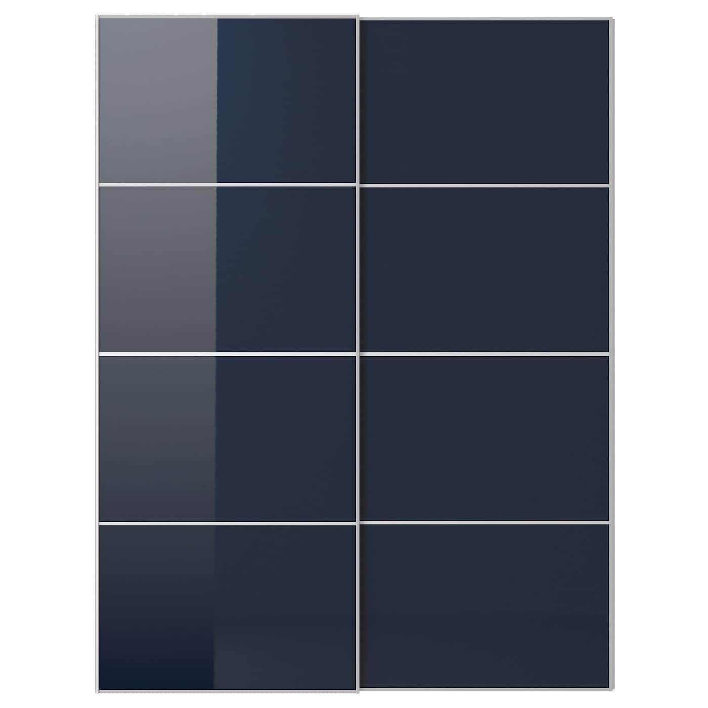 HOKKSUND, Schiebetürpaar, Hochglanz schwarzblau, dunkelblau 092.195.51