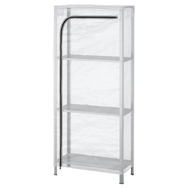 HYLLIS Regal mit Überzug, transparent, 60x27x140 cm