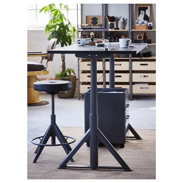 IDÅSEN Schreibtisch sitz/steh, schwarz/dunkelgrau, 160x80 cm
