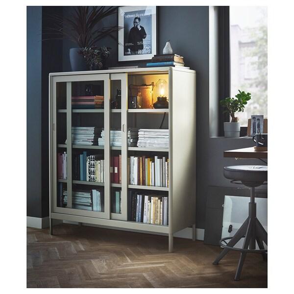 IDÅSEN Vitrine mit Schiebetüren, beige, 120x140 cm