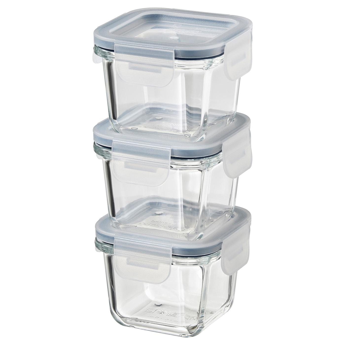 IKEA 365+ Vorratsbehälter mit Deckel - quadratisch, Glas ...