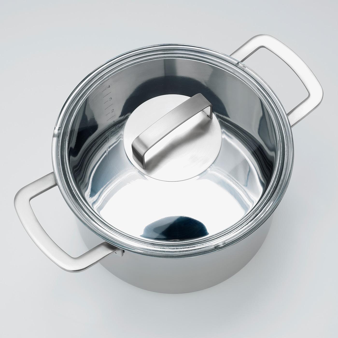 für Bratpfannen und Töpfe IKEA STABIL Deckel aus Edelstahl und Klarglas; 28cm