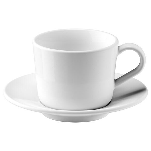IKEA 365+ Tasse mit Untertasse, weiß, 13 cl