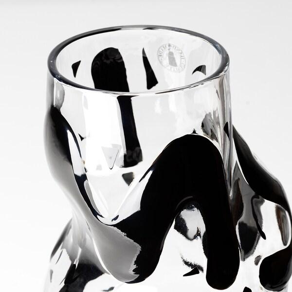 IKEA ART EVENT 2021 Vase, Klarglas/schwarz, 25 cm