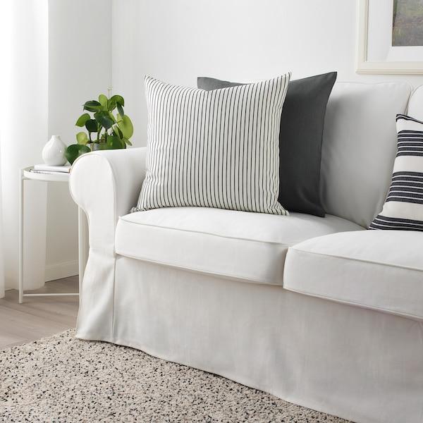 INGALILL Kissenbezug weiß/dunkelgrau gestreift 50 cm 50 cm