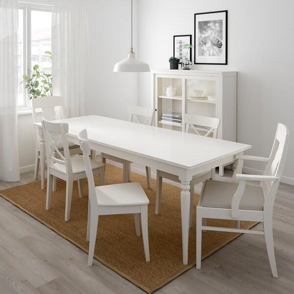 Ingatorp Ingolf Tisch Und 6 Stuhle Weiss Nordvalla Beige