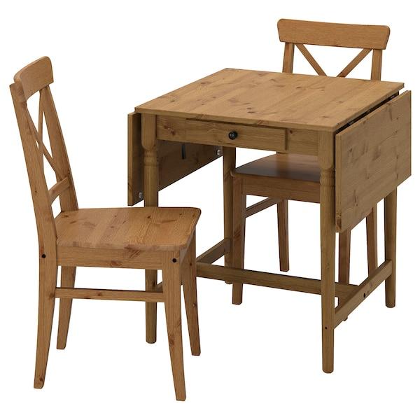 INGATORP / INGOLF Tisch und 2 Stühle, Antikbeize Antikbeize