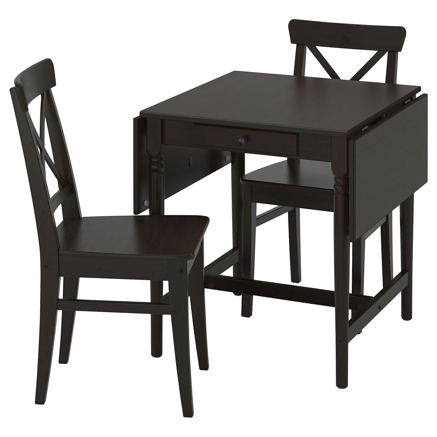 INGATORP / INGOLF Tisch und 2 Stühle - schwarzbraun/braunschwarz