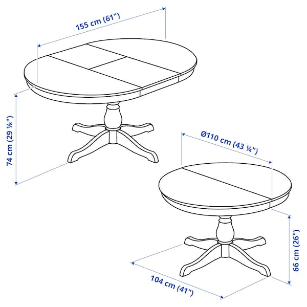 INGATORP / INGOLF Tisch und 4 Stühle, weiß/weiß, 110/155 cm