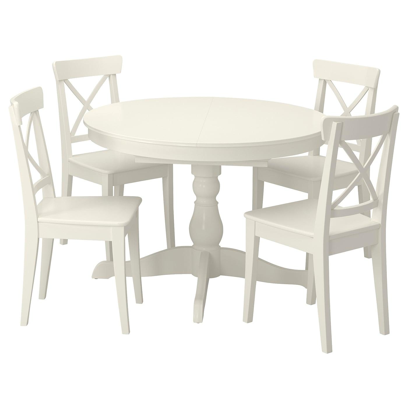 INGATORP / INGOLF Tisch und 4 Stühle - weiß/weiß 110/155 cm