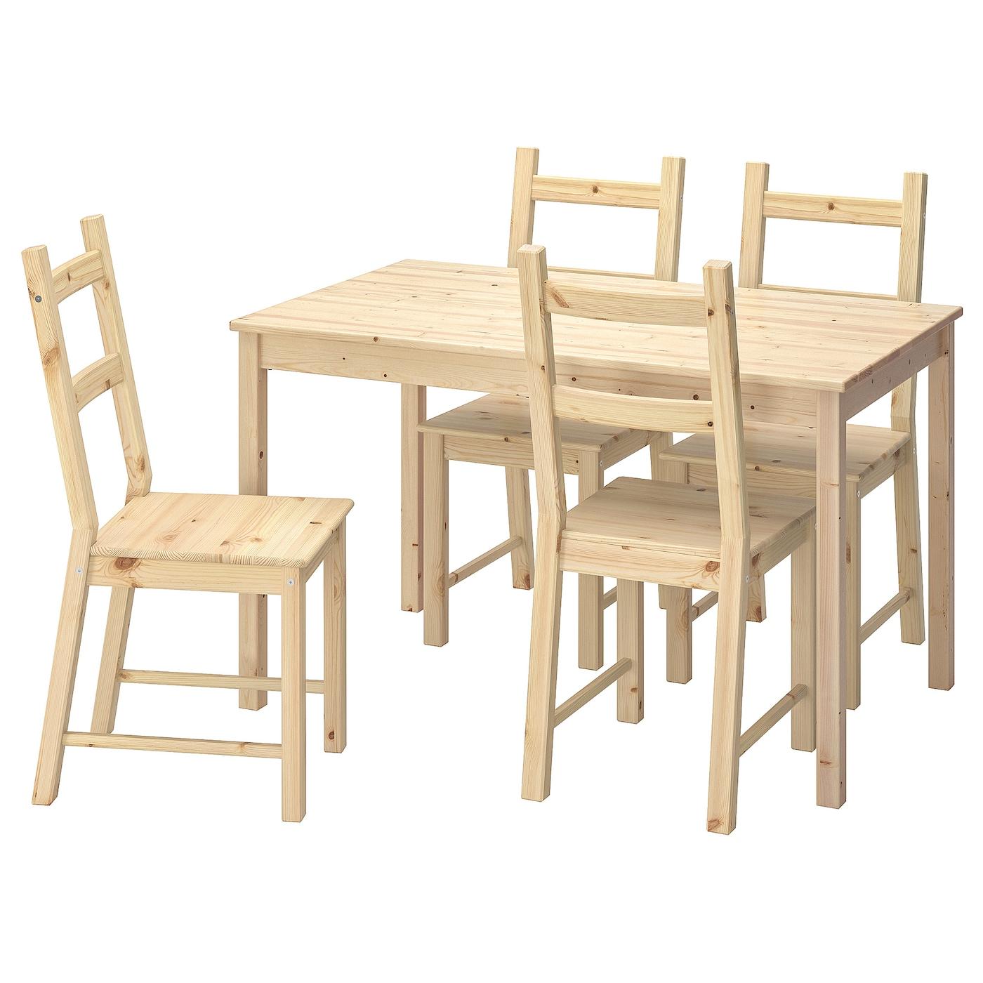 INGO IVAR Tisch und 4 Stühle Kiefer 120 cm