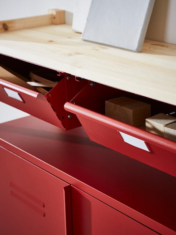 IVAR 1 Element/Böden/Schubladen, Kiefer/rot, 48x30x179 cm