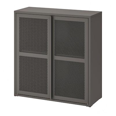 IVAR Schrank mit Türen, grau Netz, 80x83 cm