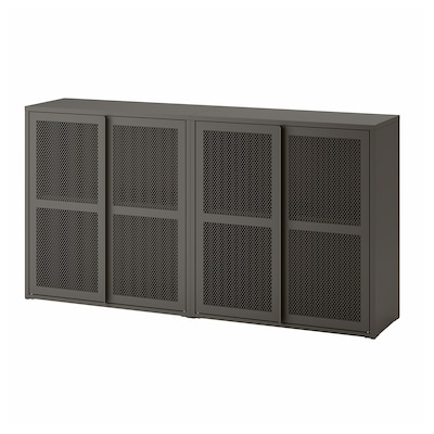 IVAR Schrank mit Türen, grau Netz, 160x30x83 cm