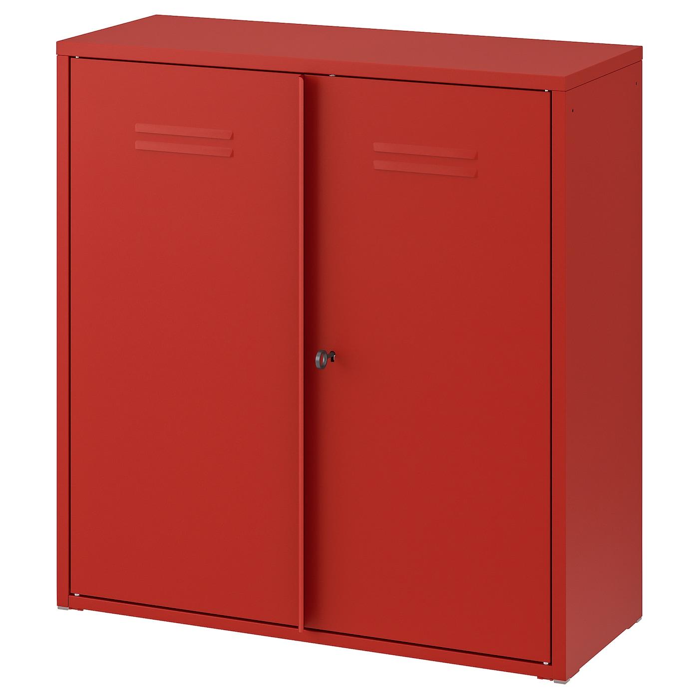 IVAR Schrank mit Türen - rot 80x83 cm