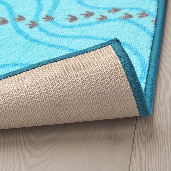 JÄTTELIK Teppich, Dinosaurier-Silhouetten/blau, 100x133 cm