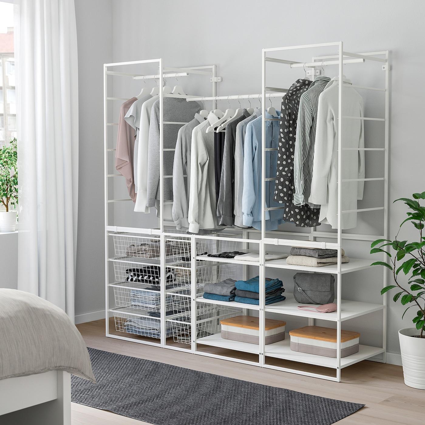 JONAXEL Rahmen/Drahtkörbe/Kleidersta/Böden, weiß, 173x51x173 cm