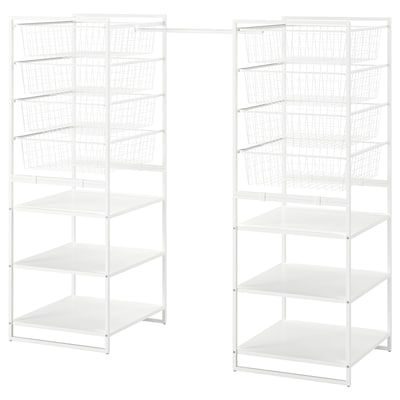 JONAXEL Rahmen/Drahtkörbe/Kleiderstangen, weiß, 142-178x51x139 cm