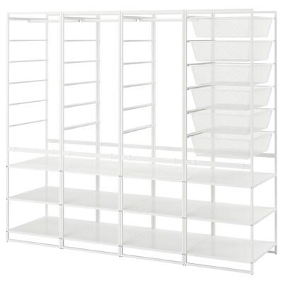 JONAXEL Rahmen/Netzdrahtkörbe/Kleidersta/Bö, weiß, 198x51x173 cm