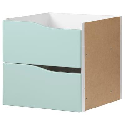 KALLAX Einsatz mit 2 Schubladen, blasstürkis, 33x33 cm