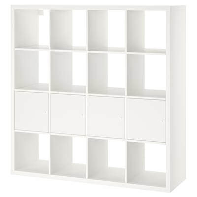 KALLAX Regal mit 4 Einsätzen, weiß, 147x147 cm