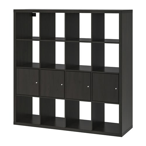 kallax regal mit 4 eins tzen schwarzbraun ikea. Black Bedroom Furniture Sets. Home Design Ideas