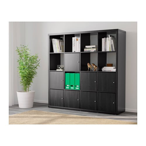 kallax regal mit 8 eins tzen schwarzbraun ikea. Black Bedroom Furniture Sets. Home Design Ideas