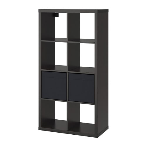 kallax regal mit 2 eins tzen schwarzbraun 77x147 cm ikea. Black Bedroom Furniture Sets. Home Design Ideas
