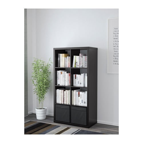 kallax regal mit 2 schubladen schwarzbraun 77x147 cm ikea. Black Bedroom Furniture Sets. Home Design Ideas