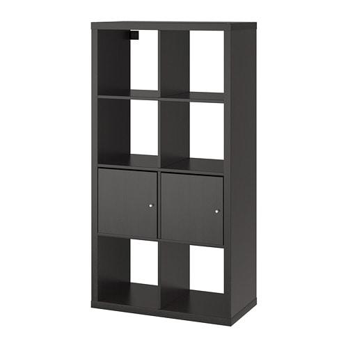 kallax regal mit t ren schwarzbraun 77x147 cm ikea. Black Bedroom Furniture Sets. Home Design Ideas