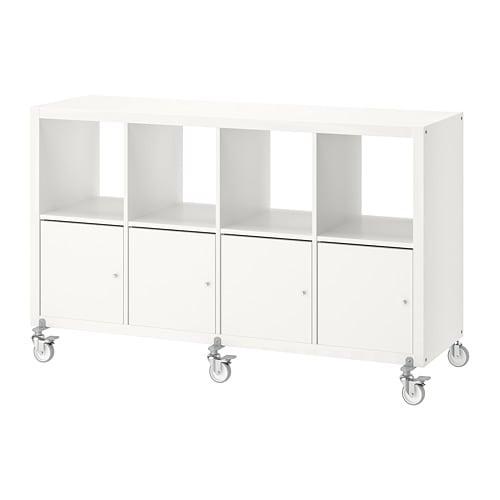 KALLAX Regal mit 4 Türen und Rollen - weiß - IKEA