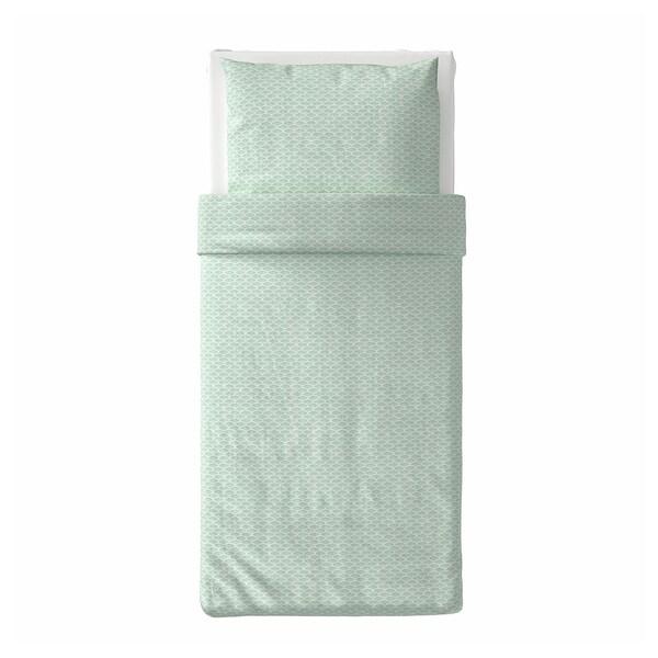 KASKADGRAN Bettwäscheset, 2-teilig, weiß/helltürkis, 140x200/80x80 cm