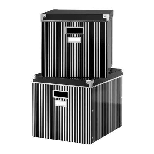 ikea kassett box mit deckel schwarz wei aufbewahrung. Black Bedroom Furniture Sets. Home Design Ideas
