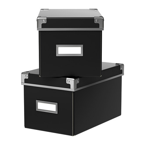 neu ovp ikea kassett cd box mit deckel schwarz aufbewahrungsbox kiste billy ebay. Black Bedroom Furniture Sets. Home Design Ideas