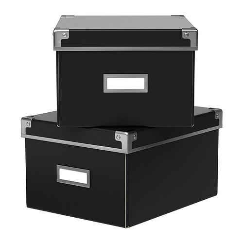kassett box mit deckel schwarz 21x26x15 cm ikea. Black Bedroom Furniture Sets. Home Design Ideas