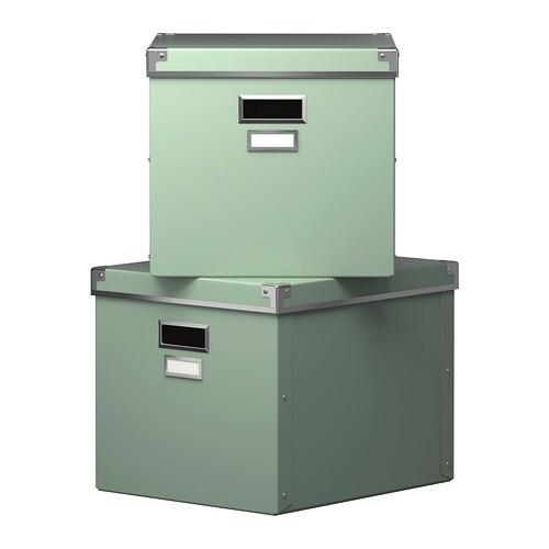 kassett box mit deckel gr n 33x38x30 cm ikea. Black Bedroom Furniture Sets. Home Design Ideas