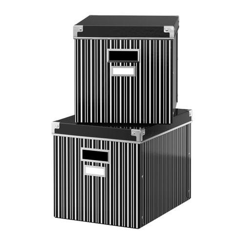 ikea kassett box schwarz wei a4 26cm kasten kiste fach schachtel besta regal ebay. Black Bedroom Furniture Sets. Home Design Ideas