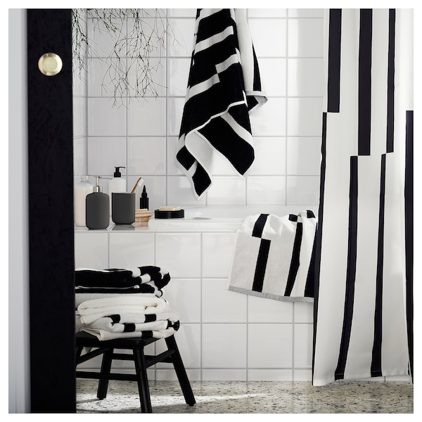 KINNEN Badetuch, weiß/schwarz, 70x140 cm